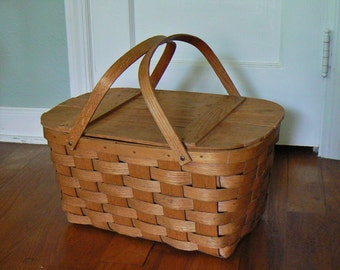 Vintage Picnic Basket, Woven Wood / Oak Basket, Split Wood Basket with Handles Wood Hinged Lid