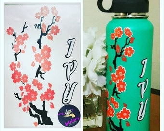 Custom Cherry blossom decals for hydroflask