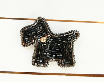 Dog Brooch / Puppy Brooch / Schnauzer  beads brooch  seed beads brooch MY CHAMPION