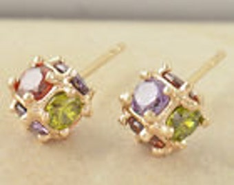 Colored Gem Squared earrings