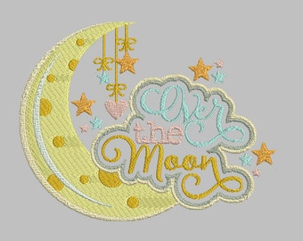 Over the Moon, Baby Girl & Baby boy announcement designs for machine embroidery - fits a 5x7 hoop