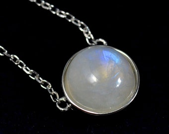 Delicate Rainbow Moonstone Coin Necklace in Sterling Silver 16'' - 18''