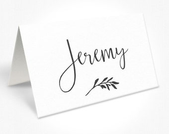 Grey and White Wedding Place Cards, Modern, Leaf Design, Rustic Garden Wedding, Free Colour Changes, DEPOSIT | Peach Perfect Australia