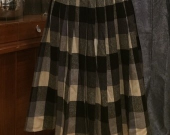 Vintage 1960's Wool Black and White Plaid Pleated Skirt