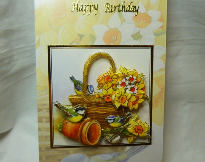3D Decoupage Birthday Card, Greeting Card, Daffodils, Blue Tits, Female, Any Age, Suitable for, Mum, Daughter, Niece, Sister, Aunt, Gran