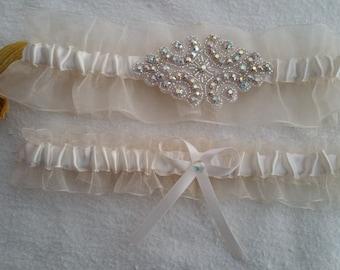 Ivory Organza ivory satin garter set, Rhinestone Applique, bow satin, Wedding garter, Bridal garter, Prom garter, Custom garter set