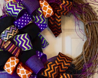 Halloween Bows Grapevine Wreath with Purple Glitter Branches; Purple Halloween Wreath; Fall Wreath; Front Door Wreath; High Quality Wreath