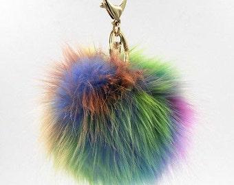 FLASH SALE!!! NEW Large Rainbow Swirl PomPom Keychain