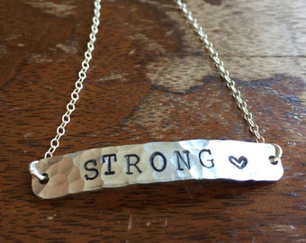 "Strong Heart |  Distressed Link Bracelet Personalized Jewelry Hand Stamped 1/2"" Brass Copper Silver Hand Hammered Texture"