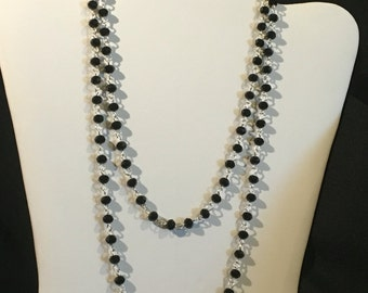 """Black & silver LONG 40"""" chain necklace!  Great for LAYERING!"""