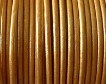 40 meters metallic beige leather cord 2 mm PR0850
