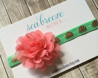 Seashell Baby Flower Headband - Coral & Mint