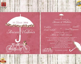 Umbrella Wedding Invitations, Bicycle Wedding Invitations, Bike and Umbrella Invitation, Tandem Bicycle, A Bike for Two, i00000247L_WED, WED