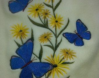 BUTTERFLY & FLOWERS Fleece SCARF