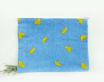 Patterned Pouch, Eco Bag, Linen Pouch, Banana Pouch, Cute Pattern Pouch, Daily pouch,