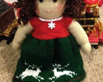 Hand knitted Christmas Doll