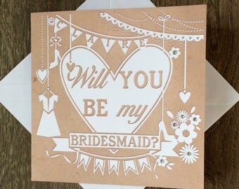 Be My Bridesmaid 2-5 cards, Will you be my Bridesmaid Cards, Bridesmaid Cards, Bridesmaid Invites, Personalised Bridesmaid Cards