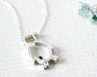Sapphire Penguin Necklace 925 Sterling Silver Animal Jewelry September Birthstone
