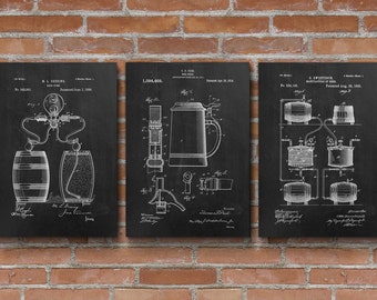 Merveilleux Beer Patents Set Of 3 Prints, Beer Patent, Beer Brewing, Beer Posters,