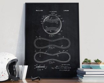 Baseball Patent Print, Baseball Wall Art, Baseball Decor, Baseball Poster, Baseball Decor - DA0122