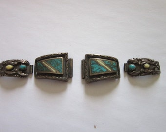 Antique Native American Sterling Silver & Inlaid Turquoise Watchband Super