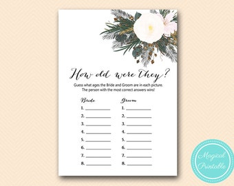 How old was the bride, Guess the age of bride, White Flower Bridal Shower Game, Printable Game, Vintage White, Gothic Floral BS437