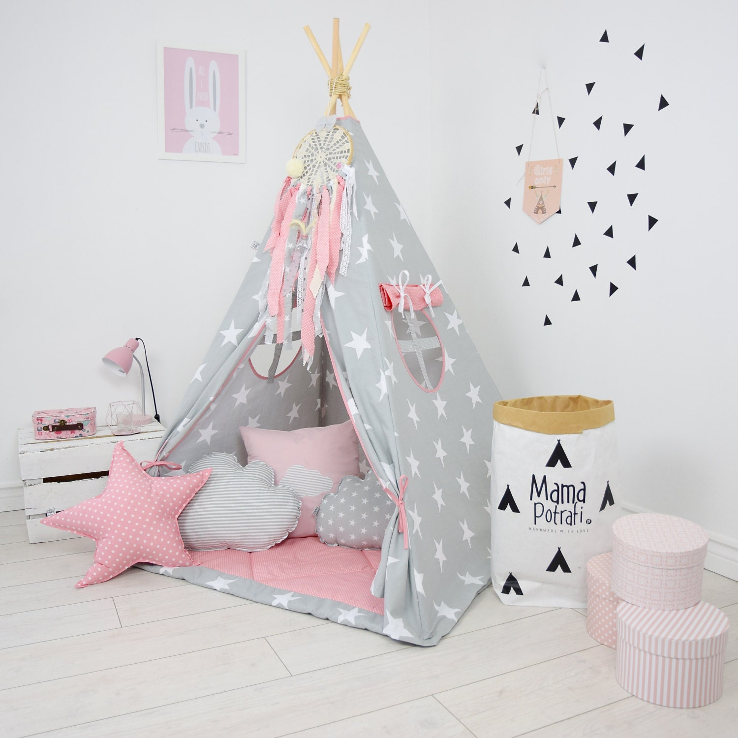teepee set kids play teepee tent tipi kid playhouse by. Black Bedroom Furniture Sets. Home Design Ideas