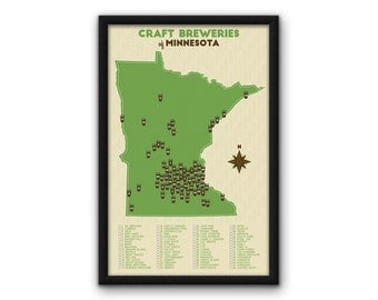 "Minnesota Craft Breweries Map - Green (11x17"")"