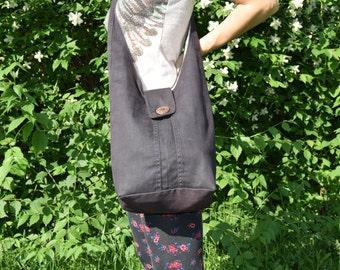Hobo Bag / Recycled Bag / Shoulder Bag / Big Denim Handbag / Denim Hobo Bag / Black Denim Purse