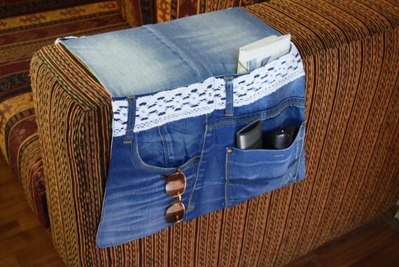 Denim Sofa Organizer Remote Control Organizer Fabric Remote