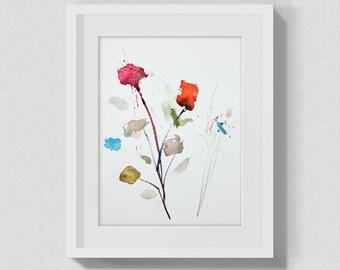 Original Watercolor Painting - Wall Art Decor - Handmade Flower Art - Office Home Studio - Blossom Art - Flowers Nature - Green red cyan