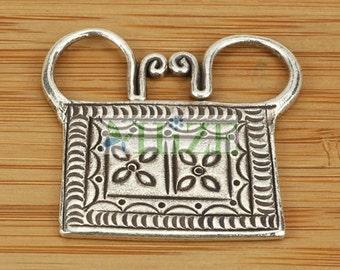 HIZE SC240 Thai Karen Hill Tribe Silver Floral Spirit Lock Pendant 28mm
