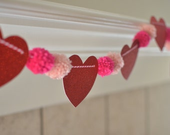 Valentin's Heart Pom Pom Garland- Four Ft. Long