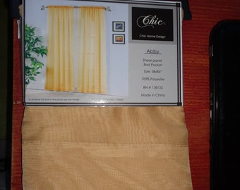 Gold Voile Sheer Window Panel  (set of 8)
