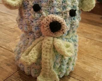 Crochet Baby Bear Bundled Blanket