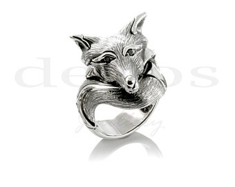 Fox Ring with Black Diamond Eyes