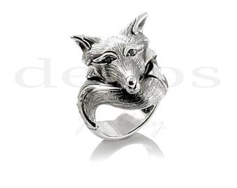 Fox Ring with Black Diamond Eyes