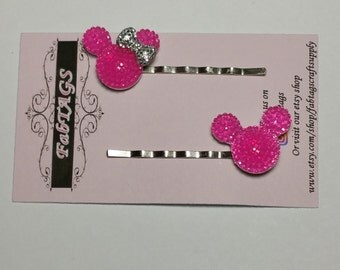 Mickey and minnie inspired bobby pins hair pins accessories pink or blue