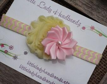 Pink and yellow headband baby headband - chevron shabby flower satin ribbon pinwheel pearl - infant newborn toddler
