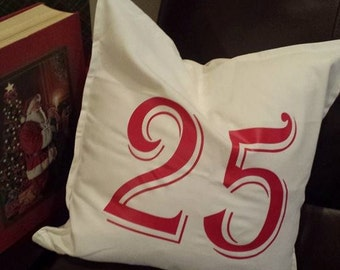 "CLEARANCE Christmas throw pillow cover-Cream with ""25"""