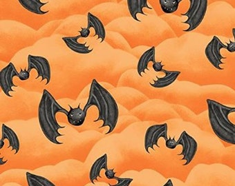 Happy Haunting, Halloween fabric, orange background, bats, by Henry Glass