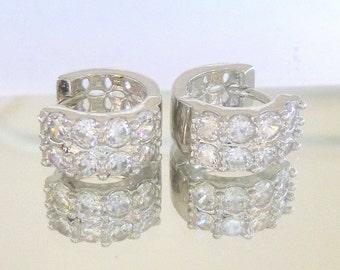 Tiny 10 kt white gold filled huggie diamond earrings 2.0 ct