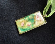 Hand-Painted Necklace, Abstract Design, Antique Bronze Finish, 36 x 50 mm