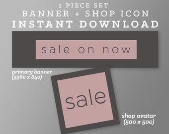 Shop Sale Banner | INSTANT DOWNLOAD | Avatar + Store Banner | Sweet Modern | Black & Purple