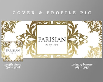 Pink Timeline Cover + Profile Picture 'Parisian' Cover, Profile Picture, Branding, Web Banner, Blog Header | Gold, luxury banner set