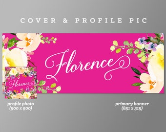 Pink Timeline Cover + Profile Picture 'Florence' Cover, Profile Picture, Branding, Web Banner, Blog Header | pink, floral cover image
