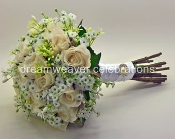MATILDA. Silk Roses, Wedding and Bridal accessories, Silk flower Bouquet.