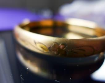 Vintage Floral Design 14 K Gold Filled Bangle Bracelet