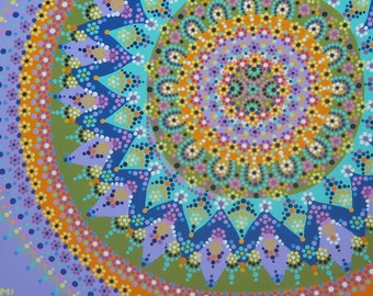 "Fearless Mandala Dot Painting 12"" x 9"""