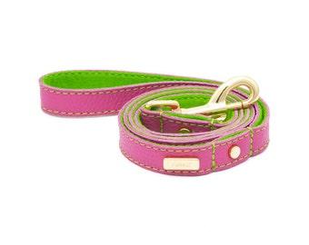 Dog Leash, Dog Lead, Leather dog lead, Leather Dog Lead, Leather Leash, Pink Leather Dog Lead, Personalised Dog Leash Lurril, UK,